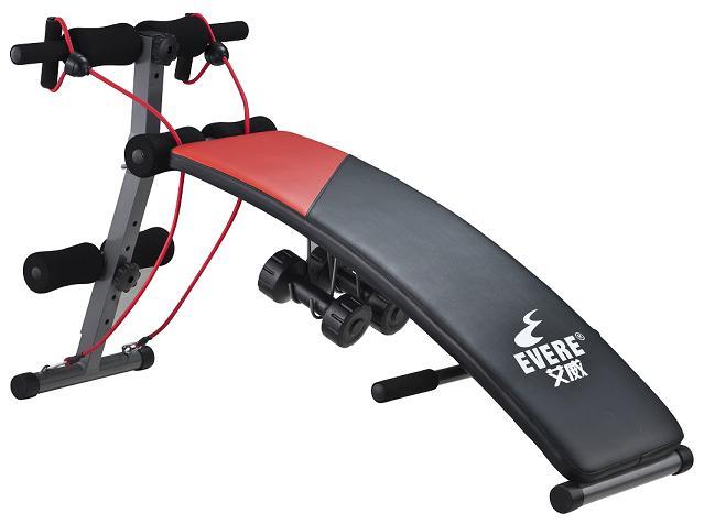 产品名称:弧形健腹板(家用) 包装尺寸:11837.521cm 弧形板尺寸:100303.5cm(长宽厚) 净重:9.7KG,毛重12.4kg 功能:锻炼腹部、背部相关肌群以及手臂和腿部肌肉。 配合拉力绳、哑铃使用可塑造完美的手臂曲线。 特征:附动感拉力绳两条,内含2个1.5kg哑铃,汽车海绵卧垫。 高低可调,折叠方便。 最大荷重:100KG 推荐身高:176cm以下 推荐体重:100kg以下 备注:板长90cm,宽度30cm,适合身高175cm以下使用者使用。 小腹平坦是許多人(特别是女性)一辈子的梦想